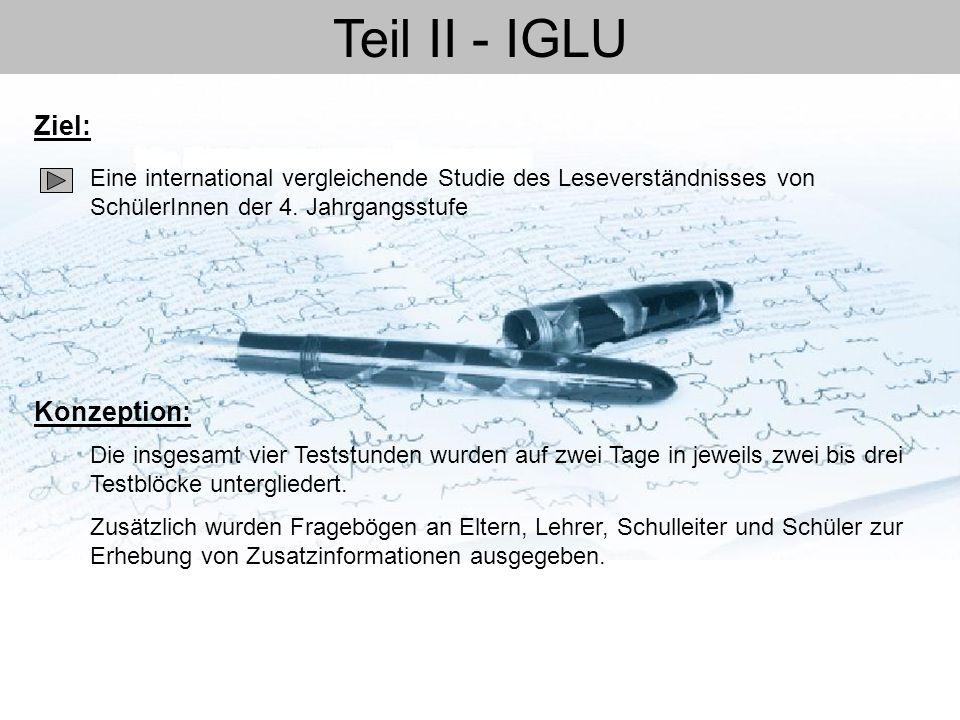 Teil II - IGLU Ziel: Konzeption: