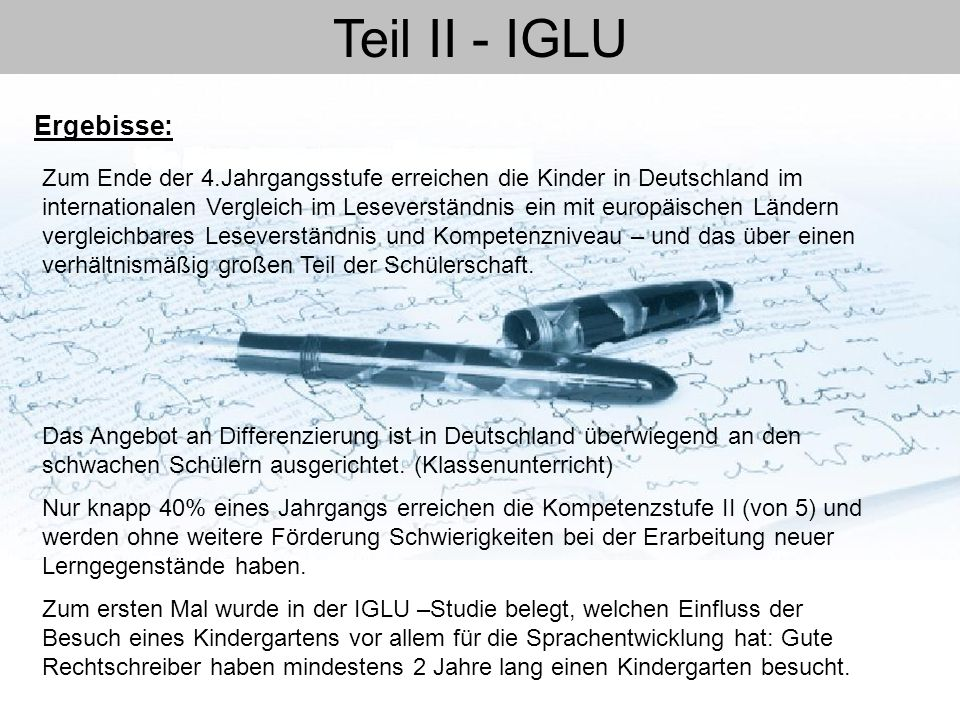 Teil II - IGLU Ergebisse: