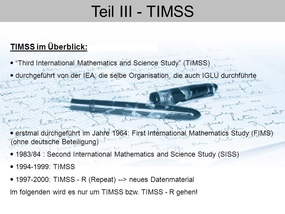 Teil III - TIMSS TIMSS im Überblick: