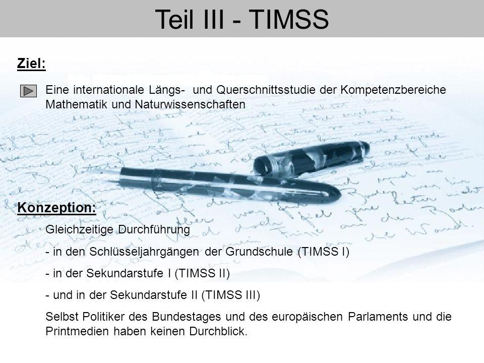 Teil III - TIMSS Ziel: Konzeption: