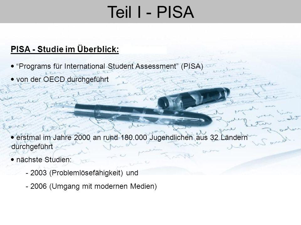 Teil I - PISA PISA - Studie im Überblick: