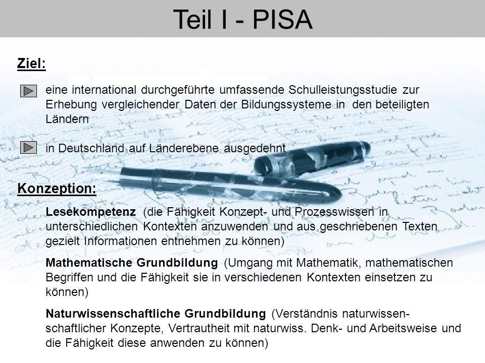 Teil I - PISA Ziel: Konzeption: