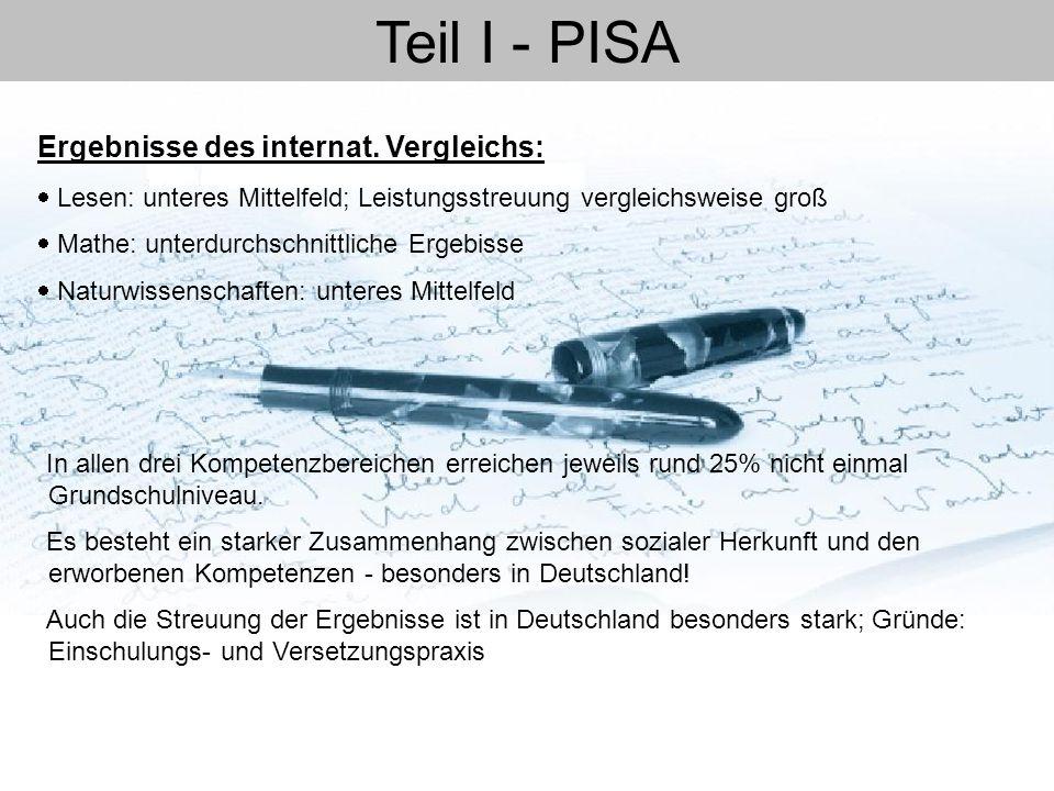 Teil I - PISA Ergebnisse des internat. Vergleichs: