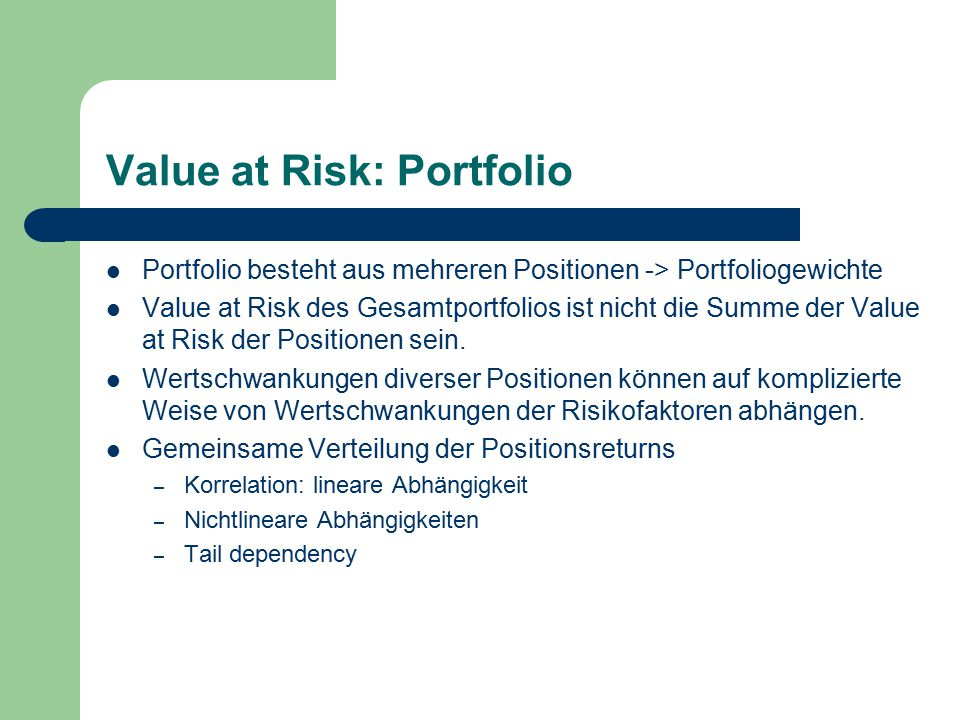 Value at Risk: Portfolio