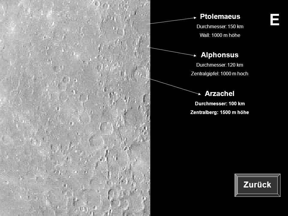 E Zurück Zurück Ptolemaeus Alphonsus Arzachel Durchmesser: 150 km