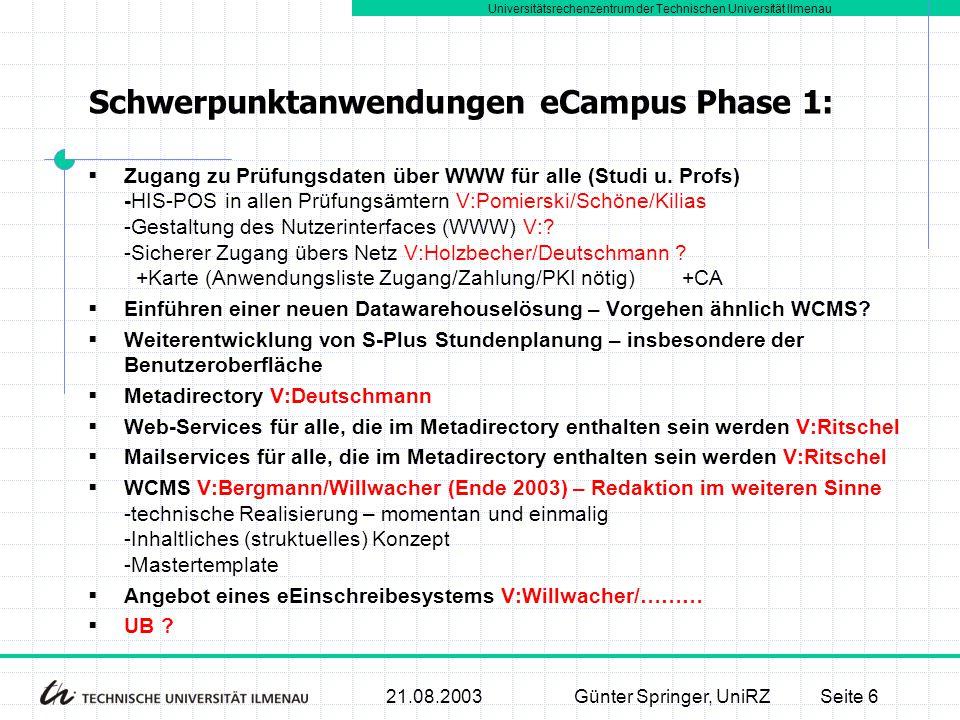 Schwerpunktanwendungen eCampus Phase 1: