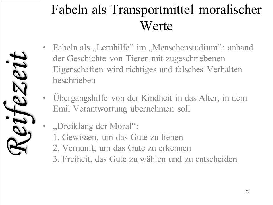 Fabeln als Transportmittel moralischer Werte