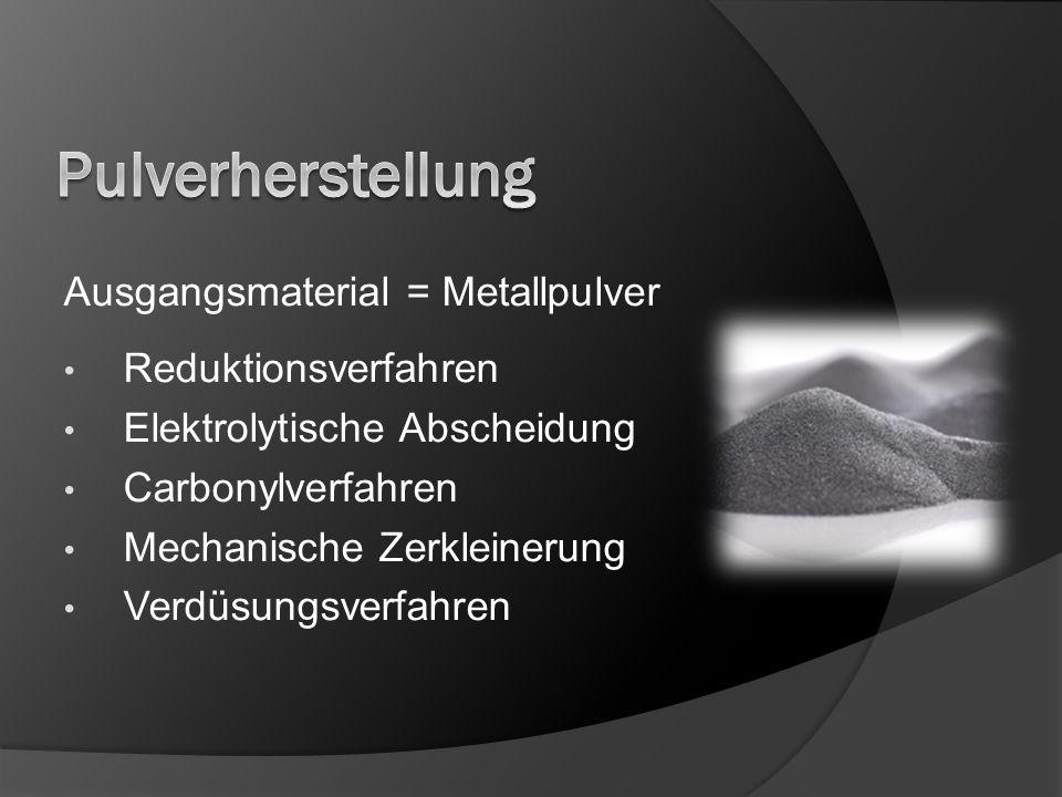 Pulverherstellung Ausgangsmaterial = Metallpulver Reduktionsverfahren