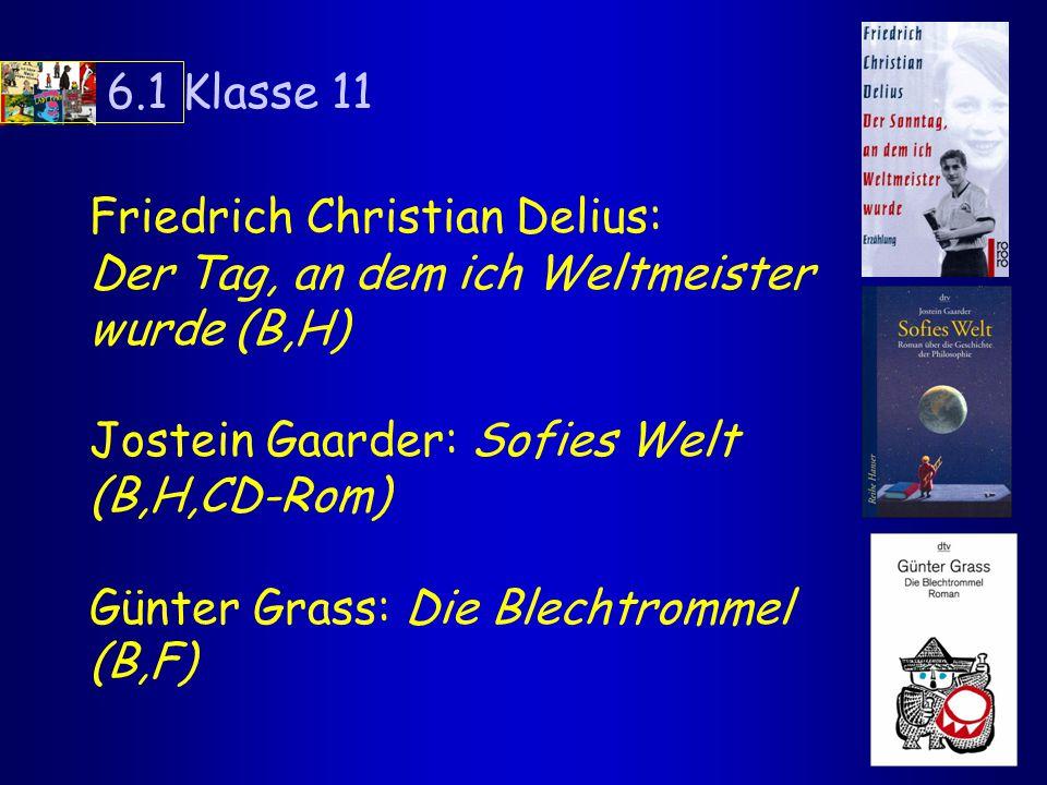 6.1 Klasse 11 Friedrich Christian Delius: Der Tag, an dem ich Weltmeister wurde (B,H) Jostein Gaarder: Sofies Welt (B,H,CD-Rom)