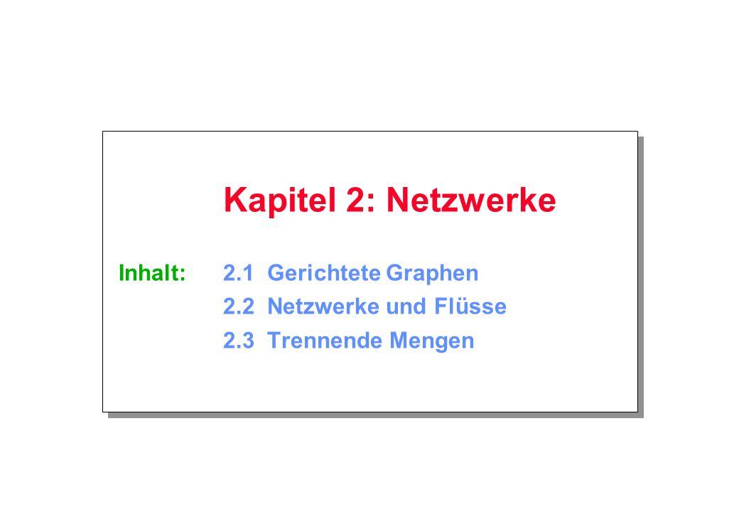 Kapitel 2: Netzwerke Inhalt:. 2. 1 Gerichtete Graphen. 2