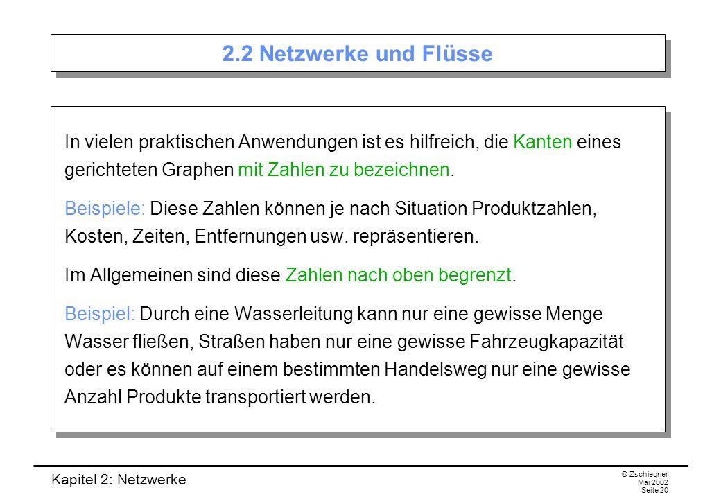 2.2 Netzwerke und Flüsse In vielen praktischen Anwendungen ist es hilfreich, die Kanten eines gerichteten Graphen mit Zahlen zu bezeichnen.