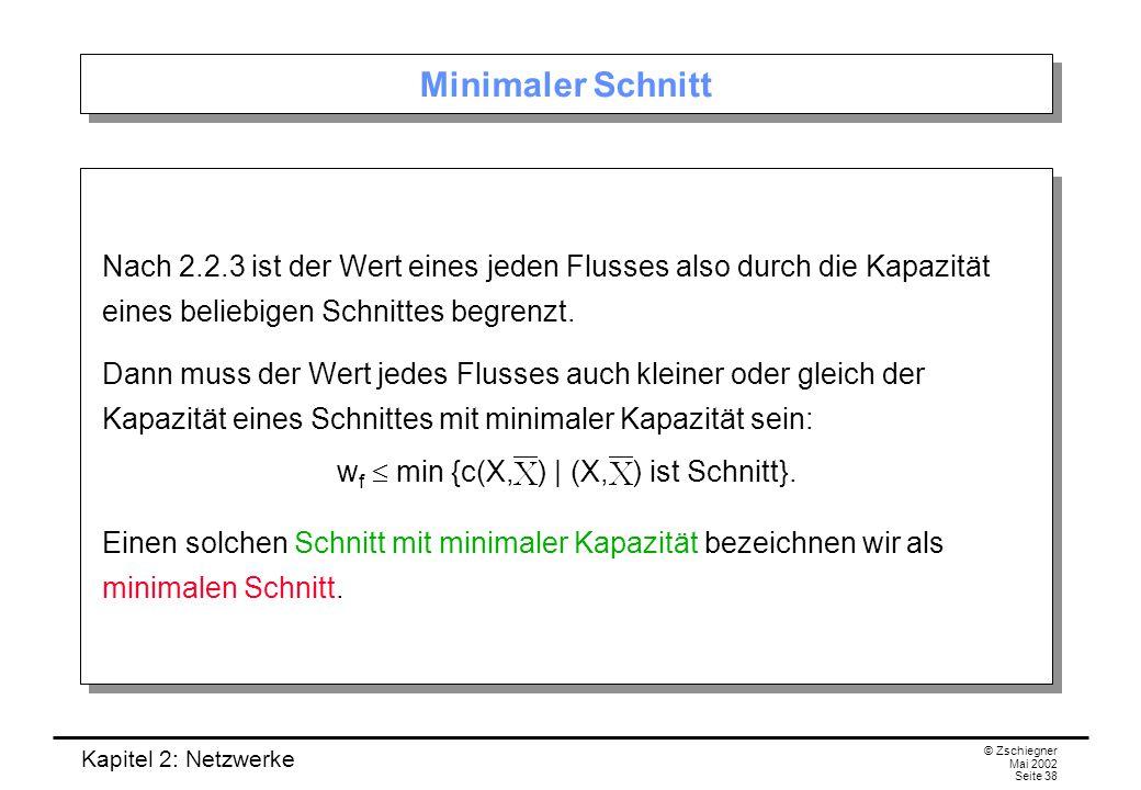 wf  min {c(X, ) | (X, ) ist Schnitt}.