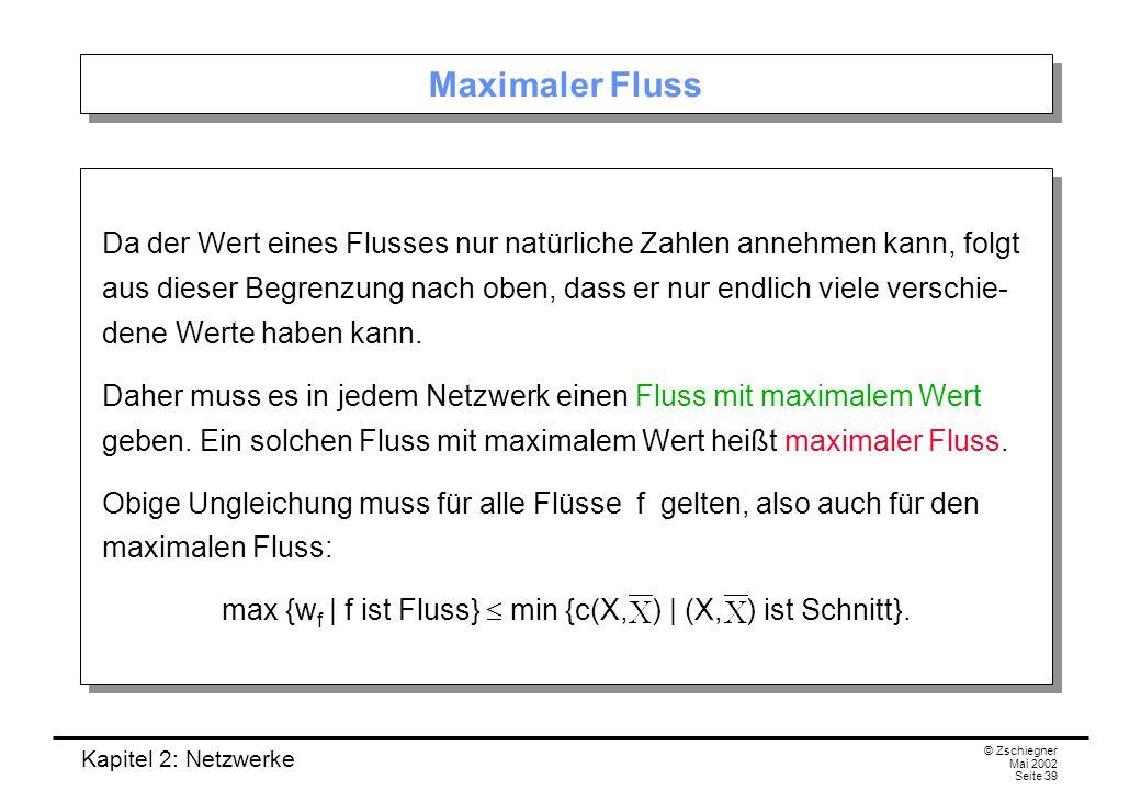 max {wf | f ist Fluss}  min {c(X, ) | (X, ) ist Schnitt}.