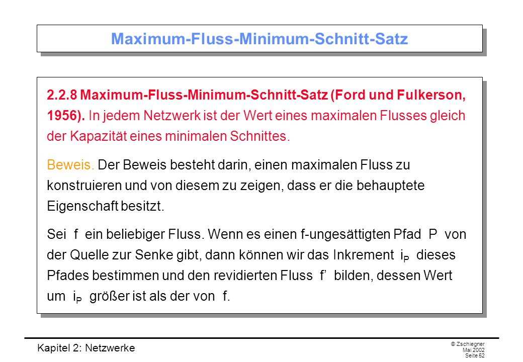 Maximum-Fluss-Minimum-Schnitt-Satz