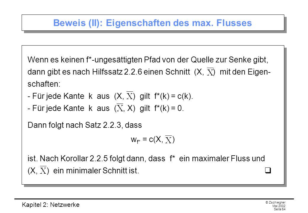Beweis (II): Eigenschaften des max. Flusses
