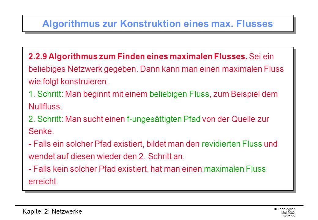 Algorithmus zur Konstruktion eines max. Flusses