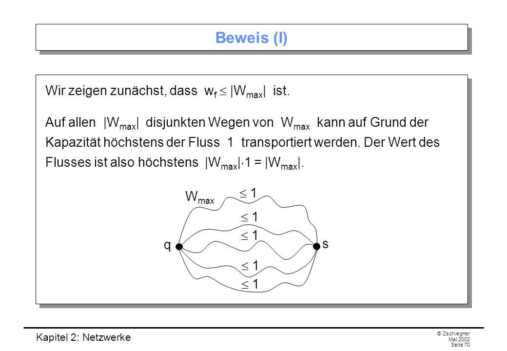 Beweis (I) Wir zeigen zunächst, dass wf  |Wmax| ist.
