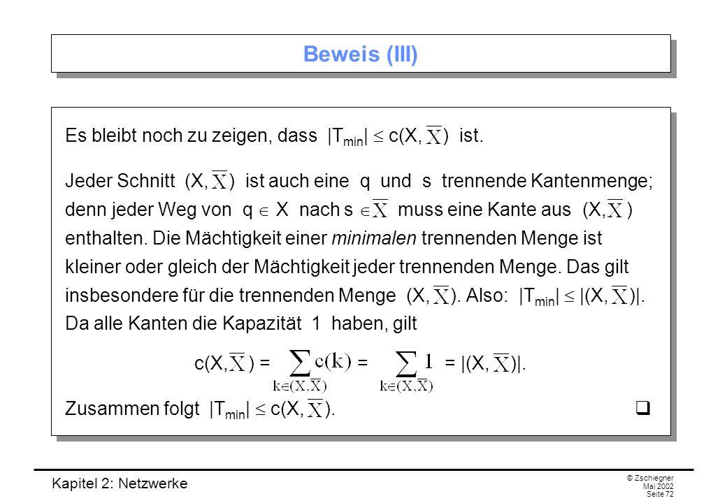 Beweis (III) Es bleibt noch zu zeigen, dass |Tmin|  c(X, ) ist.