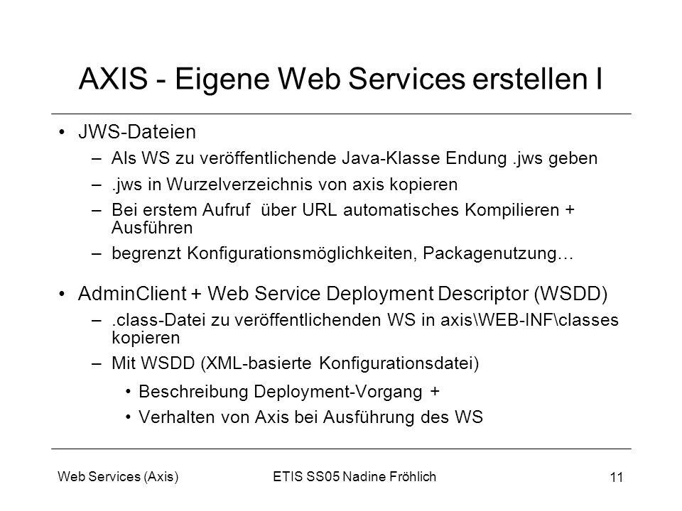 AXIS - Eigene Web Services erstellen I
