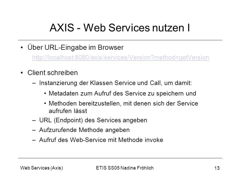 AXIS - Web Services nutzen I