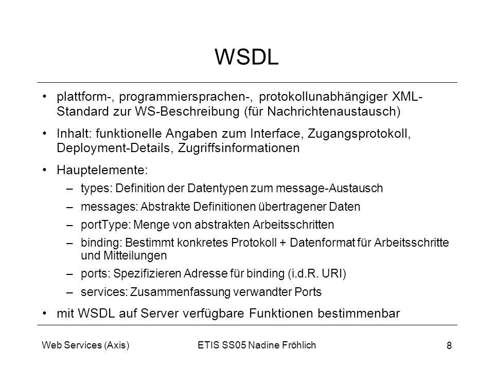 WSDL plattform-, programmiersprachen-, protokollunabhängiger XML-Standard zur WS-Beschreibung (für Nachrichtenaustausch)