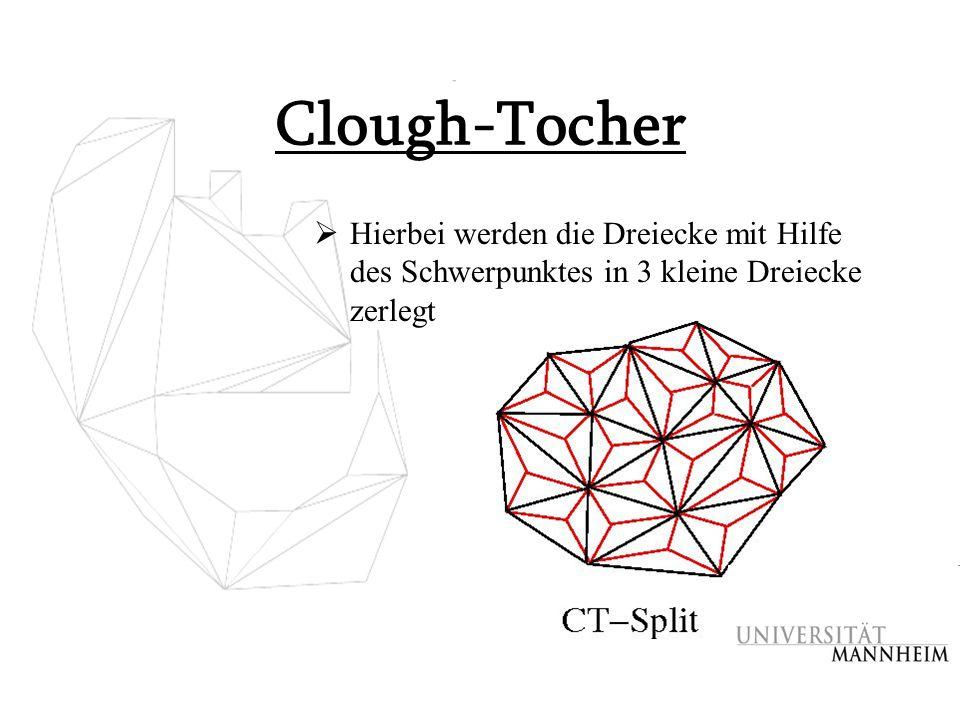 Clough-Tocher Hierbei werden die Dreiecke mit Hilfe des Schwerpunktes in 3 kleine Dreiecke zerlegt