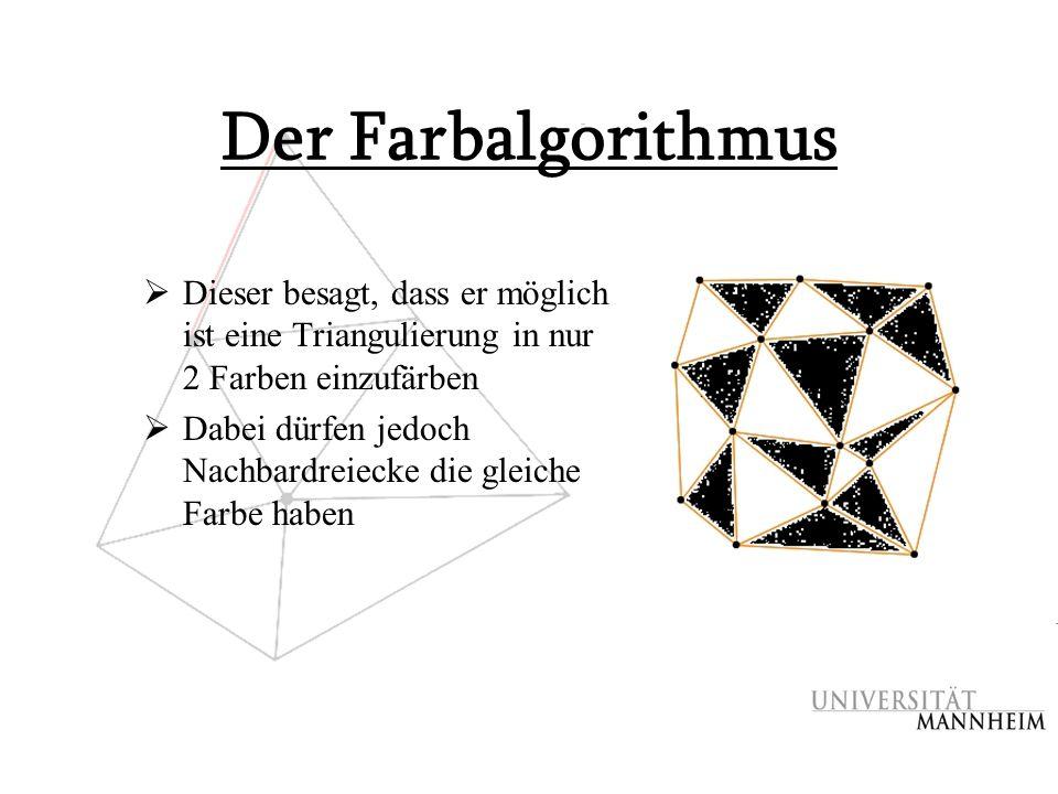 Der Farbalgorithmus Dieser besagt, dass er möglich ist eine Triangulierung in nur 2 Farben einzufärben.