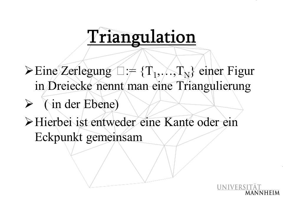 Triangulation Eine Zerlegung ߡ:= {T1,…,TN} einer Figur in Dreiecke nennt man eine Triangulierung. ( in der Ebene)