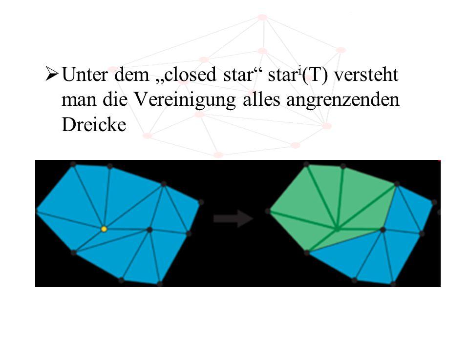 """Unter dem """"closed star stari(T) versteht man die Vereinigung alles angrenzenden Dreicke"""