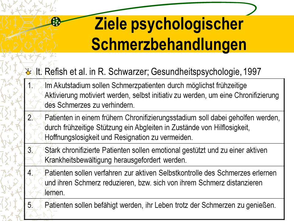 Ziele psychologischer Schmerzbehandlungen