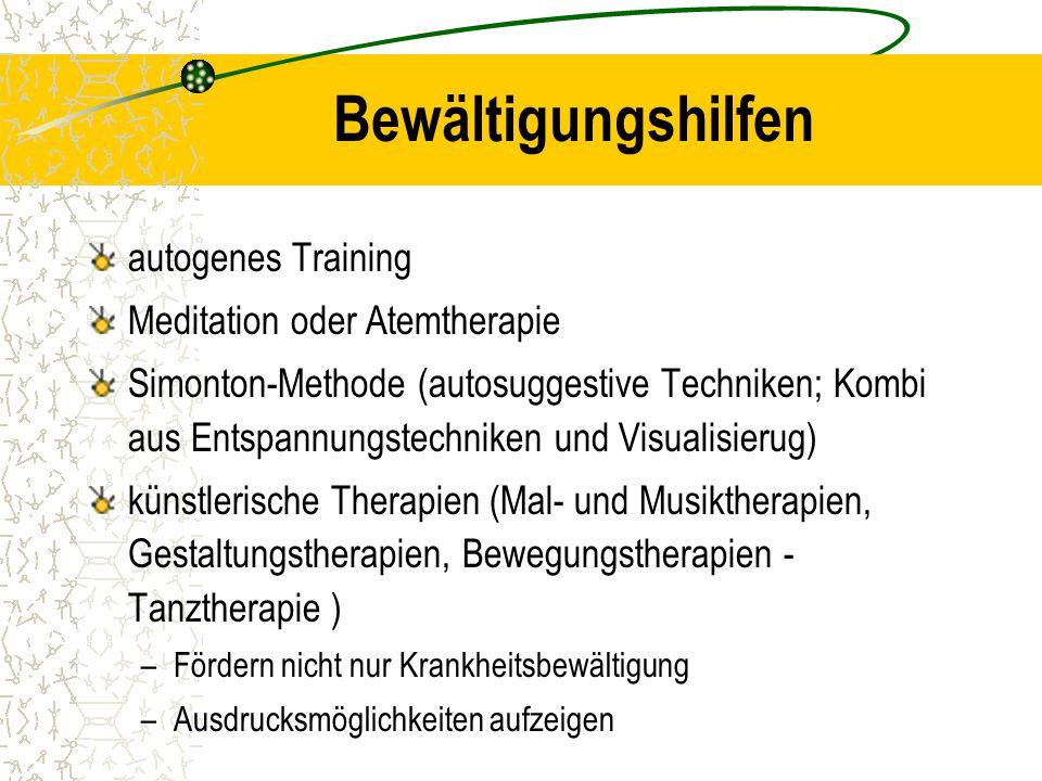 Bewältigungshilfen autogenes Training Meditation oder Atemtherapie