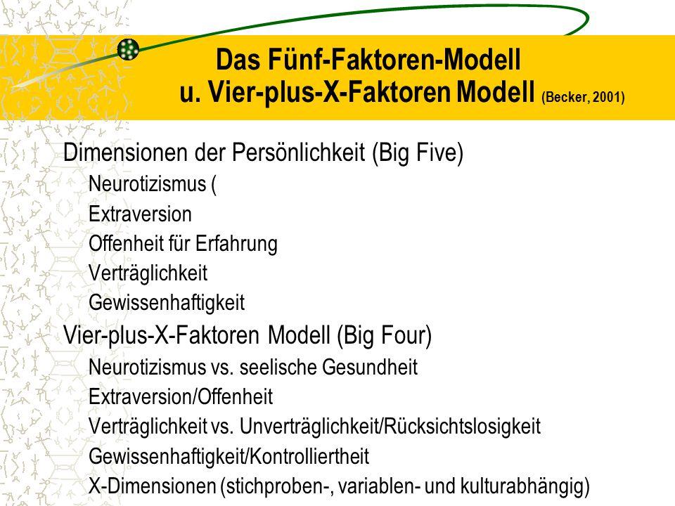 Das Fünf-Faktoren-Modell u. Vier-plus-X-Faktoren Modell (Becker, 2001)