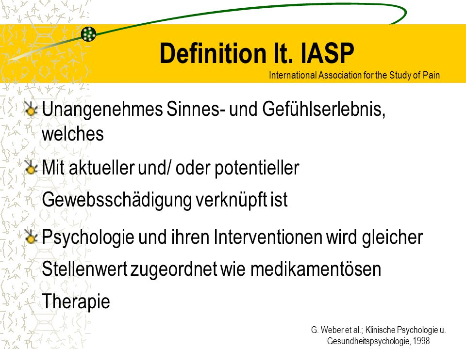 G. Weber et al.; Klinische Psychologie u. Gesundheitspsychologie, 1998