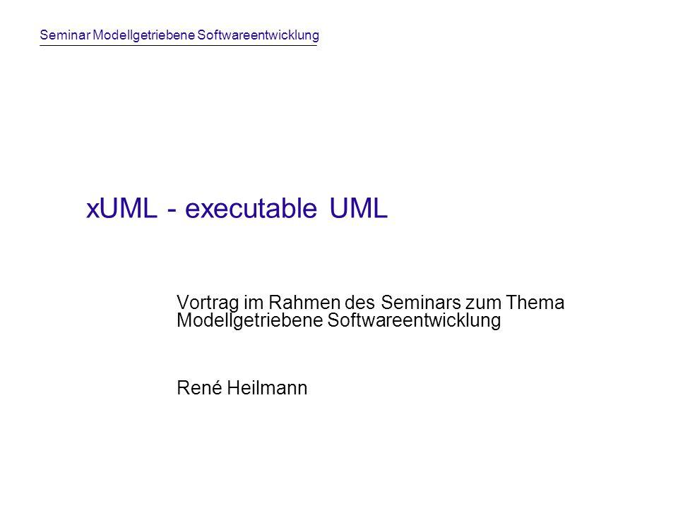 xUML - executable UML Vortrag im Rahmen des Seminars zum Thema Modellgetriebene Softwareentwicklung.