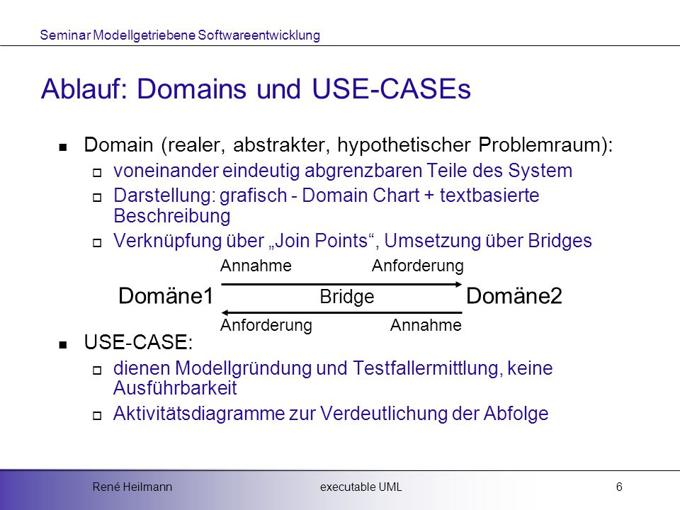 Ablauf: Domains und USE-CASEs
