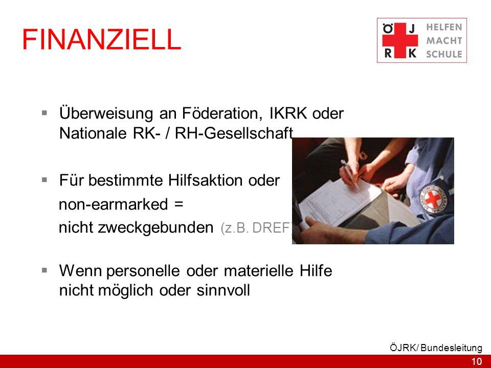 17.04.2017 FINANZIELL. Überweisung an Föderation, IKRK oder Nationale RK- / RH-Gesellschaft. Für bestimmte Hilfsaktion oder.