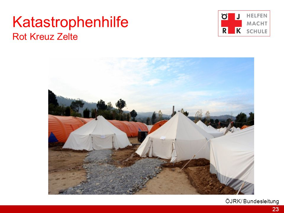 Katastrophenhilfe Rot Kreuz Zelte