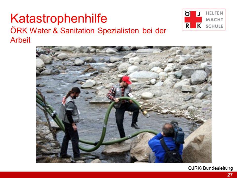 Katastrophenhilfe ÖRK Water & Sanitation Spezialisten bei der Arbeit