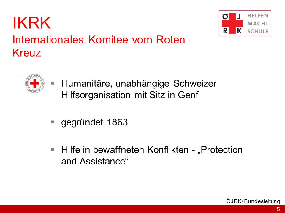 IKRK Internationales Komitee vom Roten Kreuz