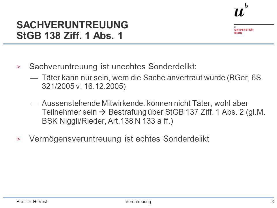 SACHVERUNTREUUNG StGB 138 Ziff. 1 Abs. 1