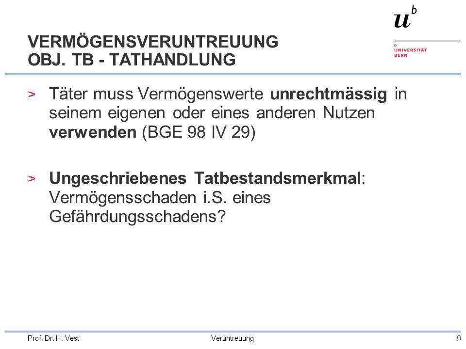VERMÖGENSVERUNTREUUNG OBJ. TB - TATHANDLUNG