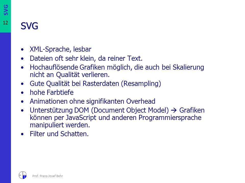 SVG XML-Sprache, lesbar Dateien oft sehr klein, da reiner Text.