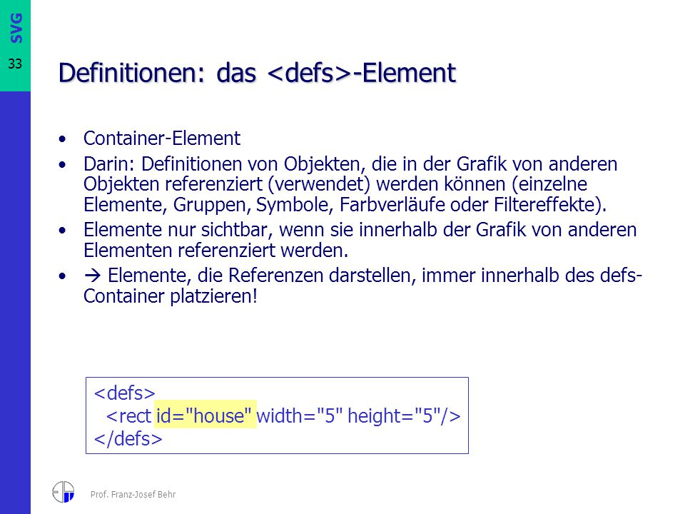 Definitionen: das <defs>-Element