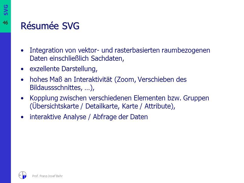 Résumée SVG Integration von vektor- und rasterbasierten raumbezogenen Daten einschließlich Sachdaten,