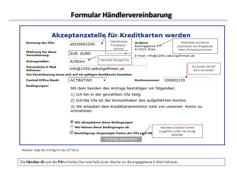 Formular Händlervereinbarung