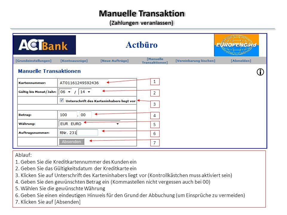 Manuelle Transaktion (Zahlungen veranlassen)