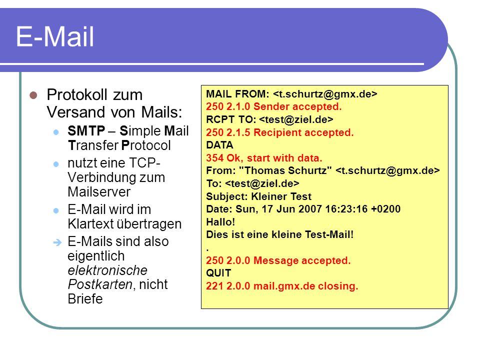E-Mail Protokoll zum Versand von Mails: