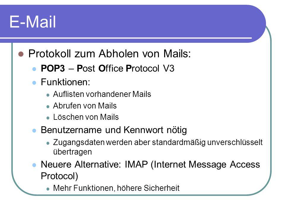 E-Mail Protokoll zum Abholen von Mails: POP3 – Post Office Protocol V3