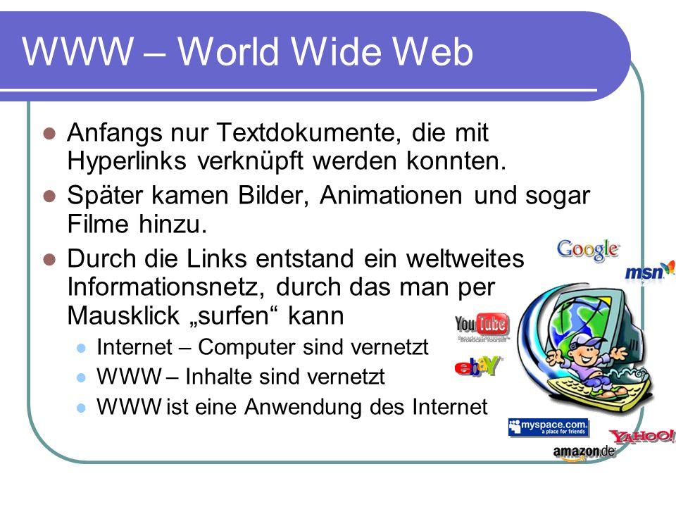 WWW – World Wide Web Anfangs nur Textdokumente, die mit Hyperlinks verknüpft werden konnten. Später kamen Bilder, Animationen und sogar Filme hinzu.