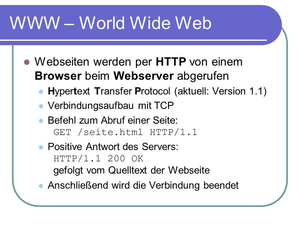 WWW – World Wide Web Webseiten werden per HTTP von einem Browser beim Webserver abgerufen. Hypertext Transfer Protocol (aktuell: Version 1.1)